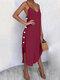 ソリッドカラーのセクシーなVネックのドレスビーチドレス - 赤
