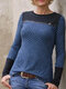 Casual Plaid Patchwork O-neck Long Sleeve T-shirt - Blue