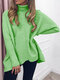 Casual Solid Color High Neck Plus Size Winter Sweater for Women - Green