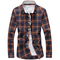 Men's Casual Large Size Plaid Shirt Cotton Long Sleeve Shirts - Yellow
