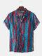 Mens Coloerful Printed Turn Down Collar Short Sleeve Loose Shirts - Blue