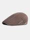 पुरुषों कपास सादा रंग समायोज्य आरामदायक फ्लैट टोपी आगे टोपी टोपी टोपी - कॉफ़ी