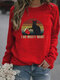 Black Cat Print Long Sleeves O-neck Casual Sweatshirt For Women - Red