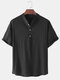 Mens Cotton Solid Color Casual Light Stand Collar Henley Shirts - Black