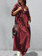 Casual Button O-neck Pleated Long Sleeve Plus Size Dress With Pockets - Wine Red