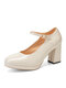 Women Daily Comfy Fashion Solid Color Buckle Strap Chunky Heel Mary Jane Heels - Beige