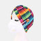 Printed Multi-colored Beanie National Style Button Mountable Ears Prevent Strangulation - 03