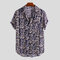 Mens Leopard Printed Chest Pocket Turn Down Collar Short Sleeve Casual Loose Shirts