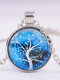 Vintage Gemstone Glass Printed Women Necklaces Landscape Tree Pendant Necklaces - #02