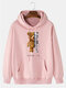 Mens Mechanical Bear Print Cotton Daily Drawstring Pullover Hoodie-7 Colors - Pink