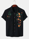 Mens Cotton Breathable Floral Embroidered Button Up Casual Short Sleeve Shirts - Black