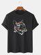 Mens Reflective Rainbow Cat Graphic Street 100% Cotton Short Sleeve T-Shirts - Black