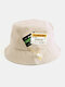 Unisex Cotton Drawstring Letter Pattern Label Solid Color Fashion Bucket Hat - Beige