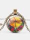 Vintage Dragonfly Printed Women Necklace Adjustable Flower Glass Pendant Necklace - Bronze