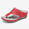 LOSTISY Hollow Out Flip Flops Cutout Holiday Beach Wedges Sandals - Red