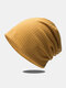 Women Dacron Knitted Solid Color Elastic Warmth Breathable All-match Beanie Hat - Yellow