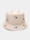 Unisex Cotton Solid Color Coconut Tree Pattern Embroidery Fashion Sun Protection Bucket Hat - Beige