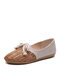 Women Straw Plaited Shoes Hollow Out Knotted Flats - Brown