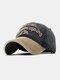 ユニセックスコットン太い文字パターン刺繡調節可能なカジュアル野球帽 - ブラック