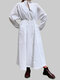 Women Solid Elastic Waist Knotted Dolman Sleeve Casual Dress - White