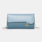 Women PU Chains  6.3 Inch Phone Solid Letter Crossbody Bag - Blue 1#