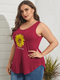 Sunflowers Print Sleeveless Plus Size Casual Tank Top - Wine Red