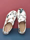 LOSTISY Butterfly Calico Printed Pattern Slip On Non-slip Comfortable Flats - Blue