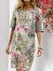 Blumendruck Split O-Ausschnitt Halbarm Casual Cotton Kleid - rot