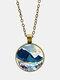 Trendy Metal Round Landscape Print Glass Pendant Necklace - Gold