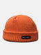 Unisex Acrylic Knitted Solid Color Letter Pattern Cloth Label Fashion Warmth Skull Cap Beanie Hat - Orange