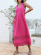 Solid Color Sleeveless Hollow Patchwork V-neck Women Casual Dress - Rose