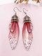 Vintage S925 Sterling Silver Butterfly Long Cicada Wings Gradient Earrings - 32