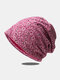 Women Lace Floral Pattern Printed Sun Protection Breathable Beanie Hat - Claret