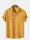 Mens Corduroy Solid Color Breathable Casual Short Sleeve Shirts - Yellow