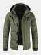 Mens Winter Warm Thicken Zipper Detail Solid Color Hooded Down Coat - Green
