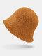 Women Lamb Wool Thick Plain Color Keep Warm Casual Fashion Sunvisor Bucket Hat - Orange