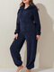 Women Cute Bear Ears Hooded Double Plush Winter Warm Zipper Solid Jumpsuit Home Thick Onesies - Navy