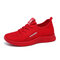 Women Breathable Lace Up Lightweight Casual Sport Shoes - Red