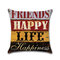 Vintage Mediterranean Hand-Painted Letters Cushion Cover Linen Throw Pillow Car Home Decoration Decorative Pillowcase - #5