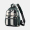 Women Striped Color Block Large Capacity Anti-theft Backpack - Green