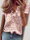 Stringy Selvedge Solid Color Print Short Sleeve Blouse - #06