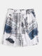 Mens Newspaper Letter Print Drawstring Board Shorts With Pocket - White