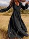 Solid Color V-neck Plus Size Dress for Women - Black