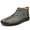 Menico Men Microfiber Leather Hand Stitching Non Slip Casual Ankle Boots - Green