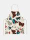 تنظيف بنمط الفراشة Colorful مآزر الطبخ المنزلي مريلة المطبخ للطبخ ارتداء مرايل الكبار من القطن والكتان - #30