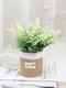 1 pieza de lavanda en maceta Flores artificiales de lino Bolsa Bonsai decoración de jardín de oficina en casa Artificial verde deja Planta decoración - Blanco