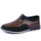 Men Microfiber Leather Splicing Non Slip Slip On Casual Driving Shoes - Brown