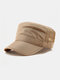Men Short Brim Solid Color With Mesh Breathable Quick-Drying Military Hat - Khaki