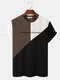 Mens Letter Pattern Knitted Patchwork Crew Neck Short Sleeve T-Shirt - Coffee