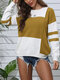 Striped O-neck Overhead Knitted Sweater For Women - Yellow